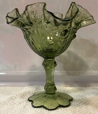 Vintage FENTON Cabbage Rose Ruffled Art Glass Compote Candy Dish Green