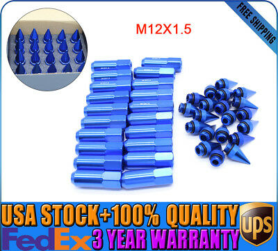 20Pc Blue 60Mm Aluminum Spiked Extended Tuner Lug Nuts For Wheels/rims M12X1.5