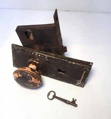 Vintage Estate Antique Old Door Knob w/ Back Plate & Skeleton Key! Farmhouse Ezr