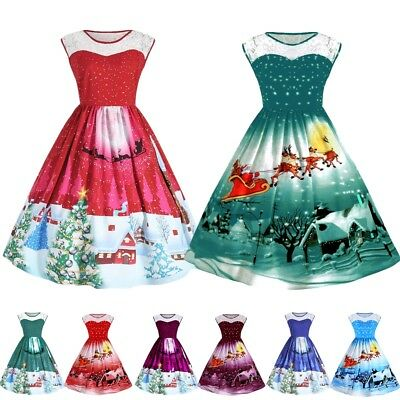 Women Christmas Xmas Swing Dress Cocktail Ladies Prom Party Lace Vintage Dresses