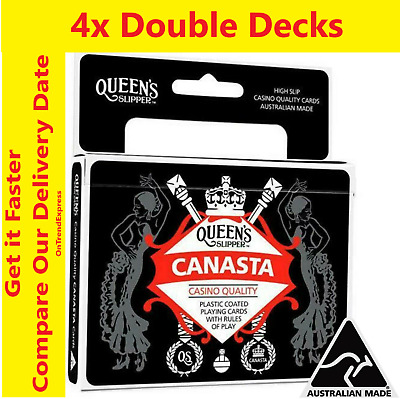 4x Queen's Slipper Canasta Playing Cards Casino Quality Plastic 4 x Double Decks