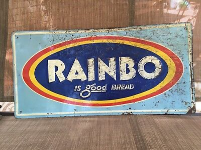 "Vintage c. 1950's Rainbo Bread Tin Embossed Metal Sign, 28"" x 14"""