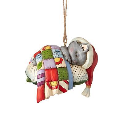 Jim Shore - Kitten on Pillow Christmas Ornament - Enesco Sleeping Cat - 4058828