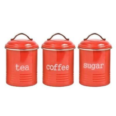 Set of 3 Canister Tin Metal Colonial 1 Litre Red - Coffee Tea and Sugar