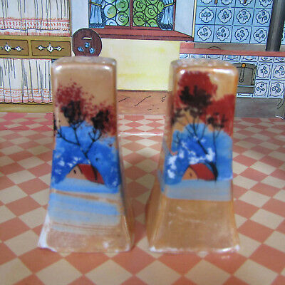 Antique Lustre HOUSE & TREE Edwardian Hand Painted Salt Shakers Porcelain Japan