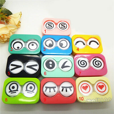 1pcs Cute Big Eyes Candy Color Contact Lens Case Container Box Eye Care Vision