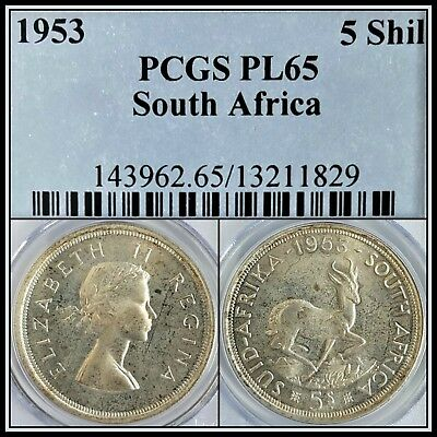 1953 South Africa 5 Shillings PCGS PL65 Proof-like Silver Crown Unc 8,000 Minted
