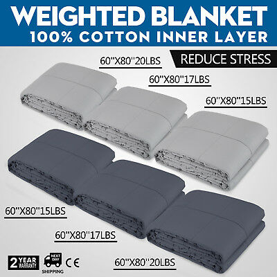 60x80'' Weighted Blanket 15-20 Lbs Heavy Sensory Anxiety Sleep Relief Kids Adult