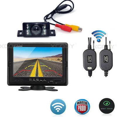 Wireless Car Truck Rear View Backup 7″ Lcd Monitor + Ir Reversing Camera Kit
