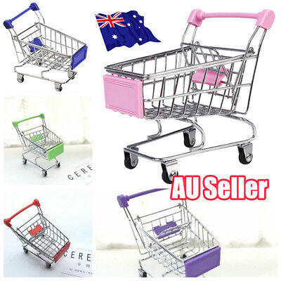 Mini Supermarket Shopping Trolley Holder Office Desk Storage Shopping Cart Toy D