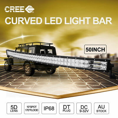 50 inch 4x4 CREE LED Light Bar 2Row Spot Flood Curved Work Driving Lamp & Wiring