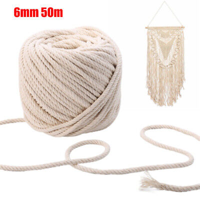 6mm 50m Macrame Rope Natural Beige Cotton Twisted Cord Artisan Hand Craft New DM