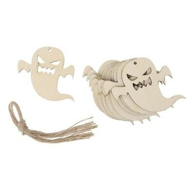 10PCS Wooden Halloween Hanging Ghost Pendants Home DIY Ornament Wall Props WS