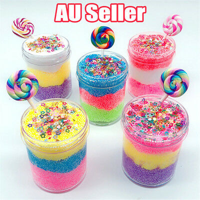5 Color Candy Bead Cloud Slime puff Fluffy Mud Stress Relief Kids Clay Toy DM