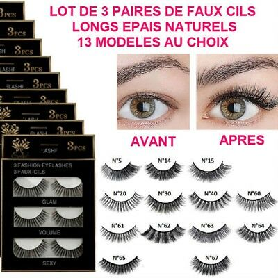 Lot 3 Paires Faux Cils Extension Long Epais Naturel Noir 3D Maquillage Cil001