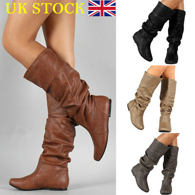 UK Womens Winter Leather Flat Knee High Boots Ladies Riding Biker Shoes Size