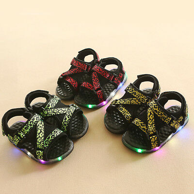 Infant Baby Kids LED Luminous Summer Sandals Boy Girl Light Up Shoes Sneakers AU