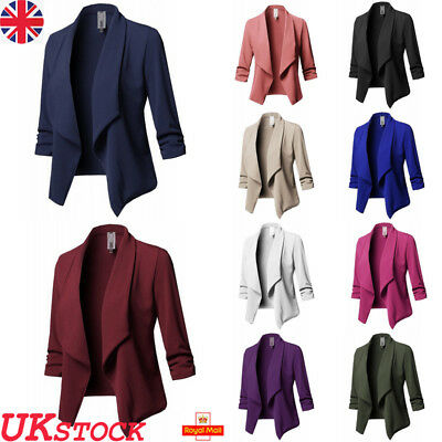 UK Womens Ladies Collar Suit Long Sleeve Blazer Coat Jacket Top Plus Size 6-22