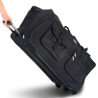 "Rolling Wheeled Tote Duffle Bag Large Travel Luggage Trip Suitcase 36"" Black New"