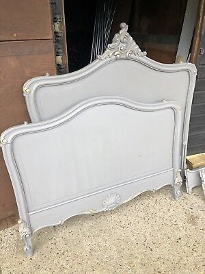 Antique French Louis XV Style Rococco Double Bed Frame Finished In Annie Sloan