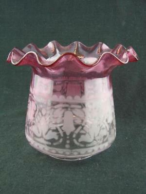 """Stunning Cranberry Glass Acid Etched Tulip Duplex Oil Lamp Shade 4"""" Fitter"""