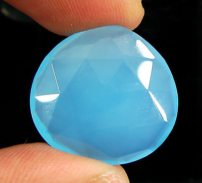 18.50 Ct Natural Blue Chalcedony Loose Faceted Gemstone Beautiful Stone - 10745