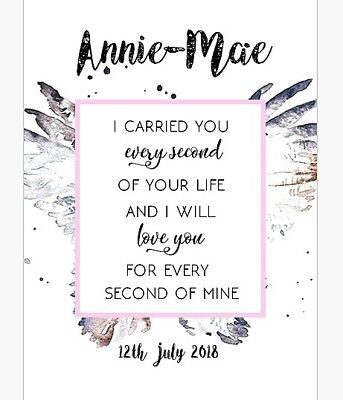 Personalised Angel Baby Birth Memorial keepsake misscarriage/loss Picture Gift