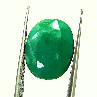 5.18 Ct Certified Natural Green Emerald Loose Oval Cut Gemstone Stone - 131262