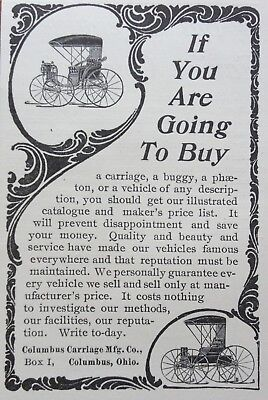 1897 Ad (1800-19)~Columbus Carriage Mfg. Co. Ohio. Buggy, Carriage