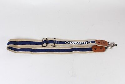 Olympus Vintage neck shoulder strap - cream blue strip metal clips