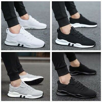 Uk Mens Teens Pumps Trainers Lace Up Sport Running Gym Sneakers Mesh Shoes Size