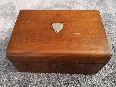 Antique Mid 19c Victorian Wooden Document Box, No key with cushioned top