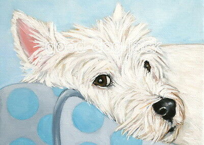 """West Highland Terrier ACEO WESTIE PRINT Painting """"WATCHING YOU"""" Dog Art RANDALL"""