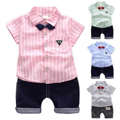 Infant Toddler Baby Boys Clothes Striped Casual Cotton Tops Short Pants Outfits