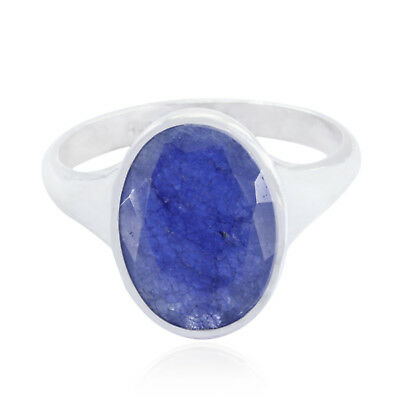 Real Gemstones Oval Faceted Indian sapphire ring 925 Silver gift for thanks AU