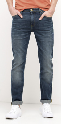 Mens Lee Rider Slim/Skinny Leg Stretch Jeans (SECONDS) 'Tinted Blue' RRP£90 L166