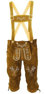 Men's Oktoberfest Traditional Costume Pants Leather Bavarian Trousers Brown