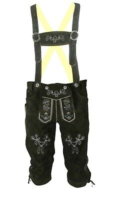 Men's Oktoberfest Traditional Costume Pants Leather Bavarian Trousers Black