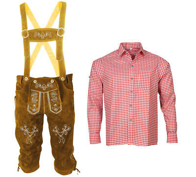 Men's Oktoberfest Brown Traditional Costume Set Bavarian Leather Pants Trousers