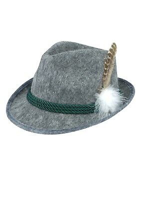 Grey Bavarian Hat with Feather and Green Cord Adult Oktoberfest German Accessory