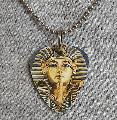 Metal Guitar Pick Necklace KING TUT Tutankhamun Golden boy egyptian prince egypt