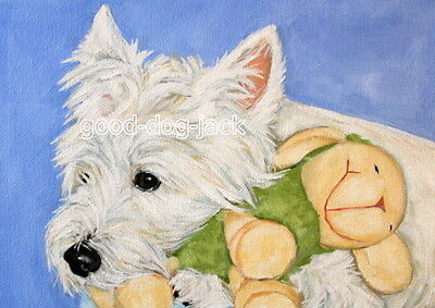 """West Highland Terrier ACEO WESTIE PRINT Painting """"BEDTIME BUDDY"""" Dog Art RANDALL"""