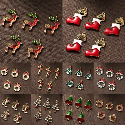 5pcs Christmas tree Bell Deer Charms Findings Bracelet Pendant Jewelry Making