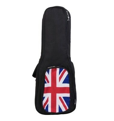 "Strongly Padded Ukulele Uke Bag Case 26"" Inch Tenor UK British Flag Union Jack"