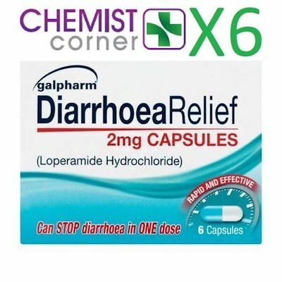 Loperamide Hydrochloride(immodium) 2mg - 6 capsules for relief of diarrhoea - X6