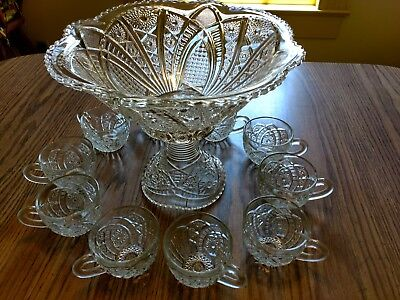 "Antique 12"" Punch Bowl set with 10 cups 1910"