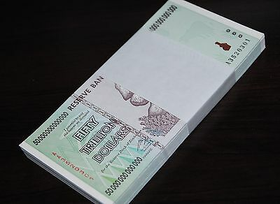Half Bundle (50X) Zimbabwe 50 Trillion Dollars | Unc | 2008 Aa | 100% Genuine