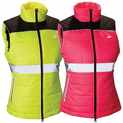 Harry Hall Equestiran Hi Viz Womens Rear Double Vents Reflective Down Like Gilet