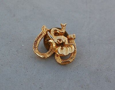 """Elephant Trunk Up & Double Horseshoe Good Luck Tie Tack Pin Lapel Hat Gold 3/4"""""""