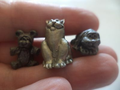 """Lot Of 3  Approx. 3/4"""" Detailed Pewter Dog, Cat, Teddy Bear Figurines Miniatures"""